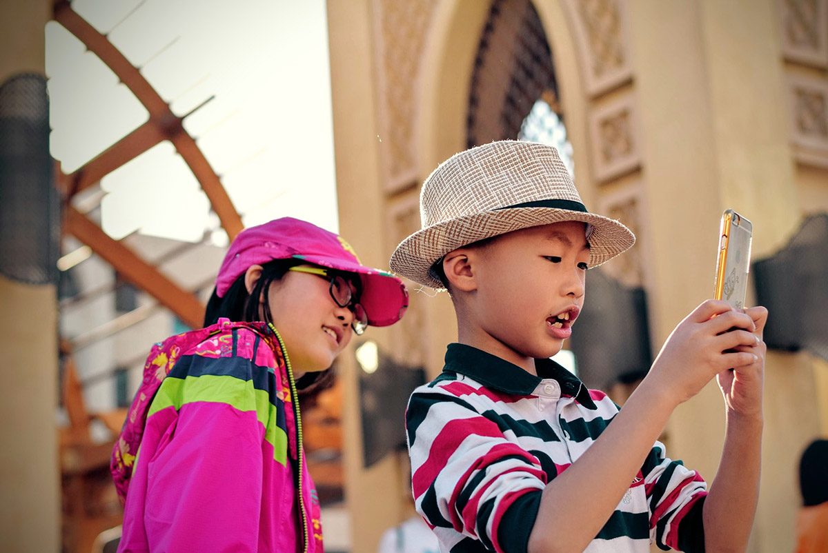 Kids using the phone to contact us at Cal Ivy Prep in Bakersfield California